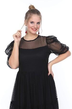 Valeria Fratta - Genç Büyük Beden Puantiye Tüllü Siyah Elbise nv4024-1 (1)