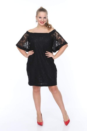 Angelino Butik - Genç Büyük Beden Siyah Güpür Elbise nv4010 kısa (1)
