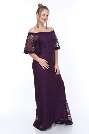 Angelino Butik - Genç Büyük Beden Mor Güpür Elbise nv4010 Uzun (1)