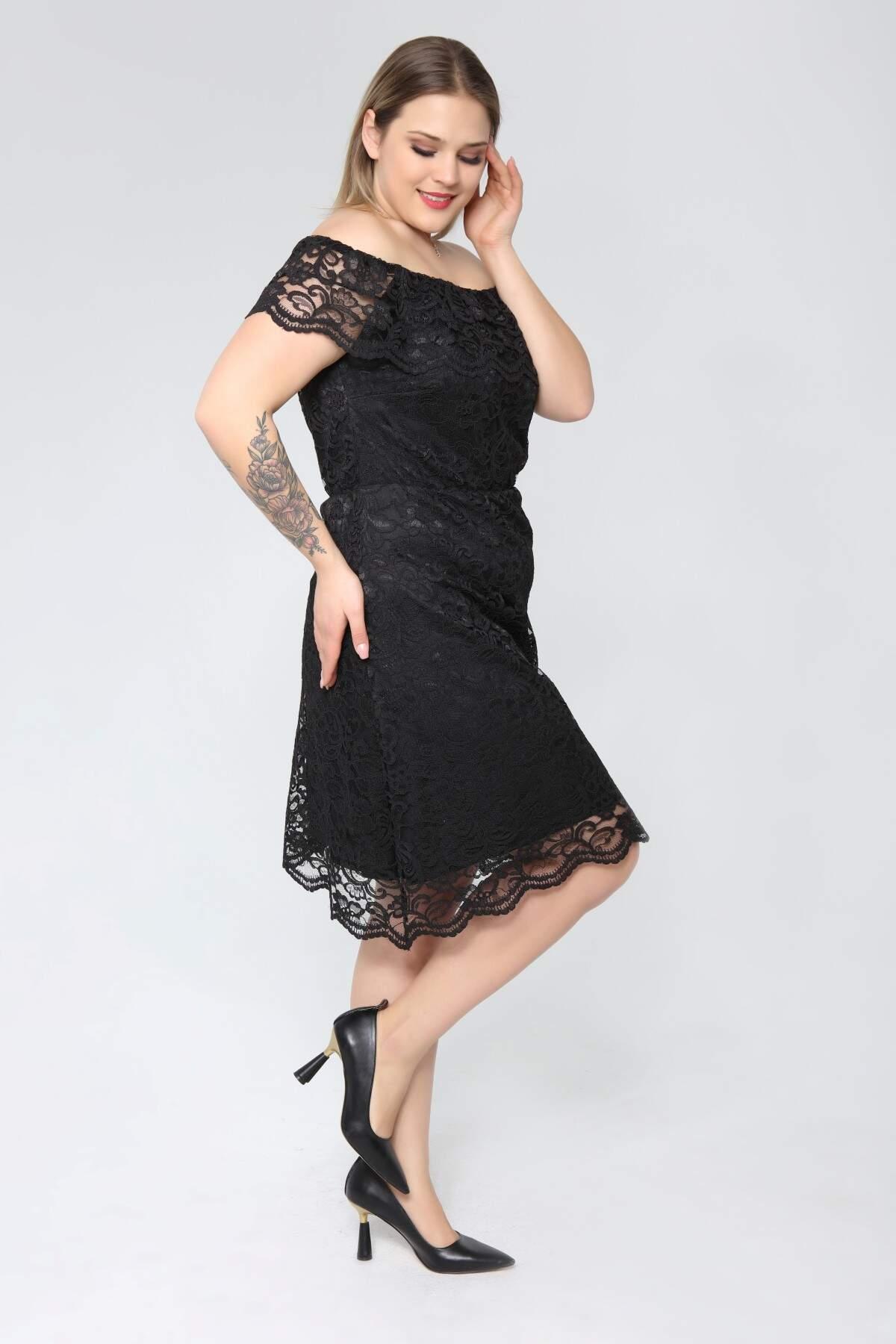 Genç Büyük Beden Siyah Güpür Elbise nv4025