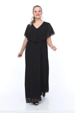 - Genç Büyük Beden Siyah Şifon Elbise NV4016 (1)