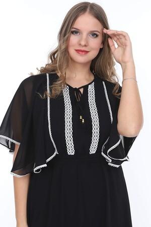 Angelino Butik - Genç Büyük Beden Siyah Üzeri Dantelli Elbise nv4006 (1)