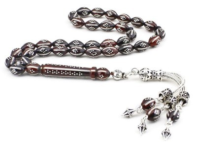 Tesbihane - Gümüş Püsküllü ve Gümüş İşlemeli Mineli Kuka Tesbih (FWYDKY46) (1)