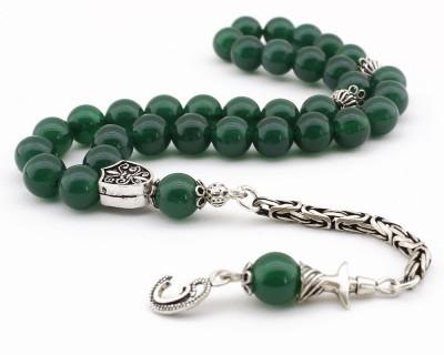 Tesbihane - Gümüş Semazen ve Vav Püsküllü Yeşil Akik Doğaltaş Tesbih (1)