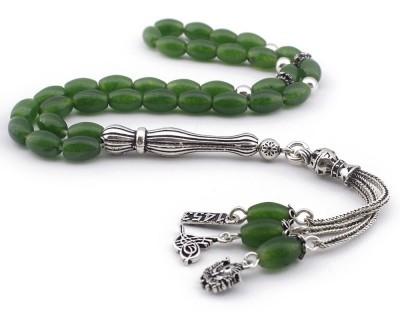 Tesbihane - Gümüş Tuğra - Arma - 1453 Püsküllü Yeşil Akik Doğaltaş Tesbih (1)
