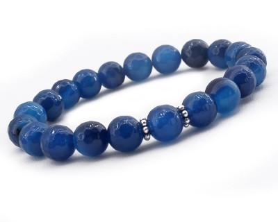 Tesbihane - Gümüşlü Mavi Jade Doğaltaş Bileklik (1)