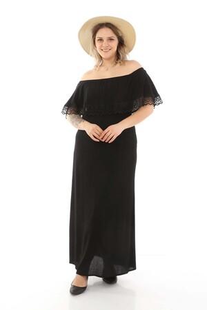 - Güpürlü Madonna Yaka Elbise Siyah (1)