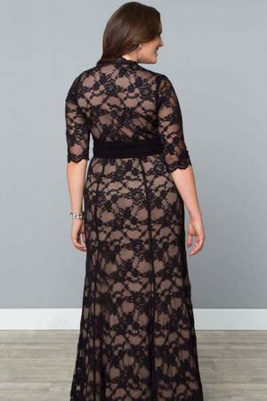 Mangolino Dress - Kadın Büyük Beden Abiye Elbise KL16000 Ten (1)