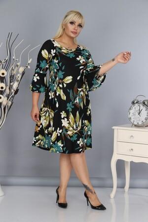 Angelino Fashion - Kadın Büyük Beden Elbise Çiçek Desenli Mavi FR303 (1)