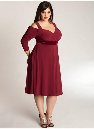 Mangolino Dress - Kadın Büyük Beden Elbise MD7005 Bordo (1)