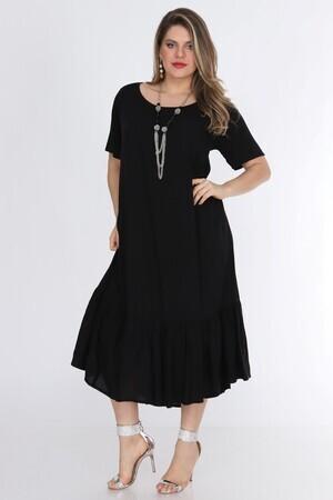 Valeria Fratta - Kadın Büyük Beden Elbise Siyah 1569 (1)