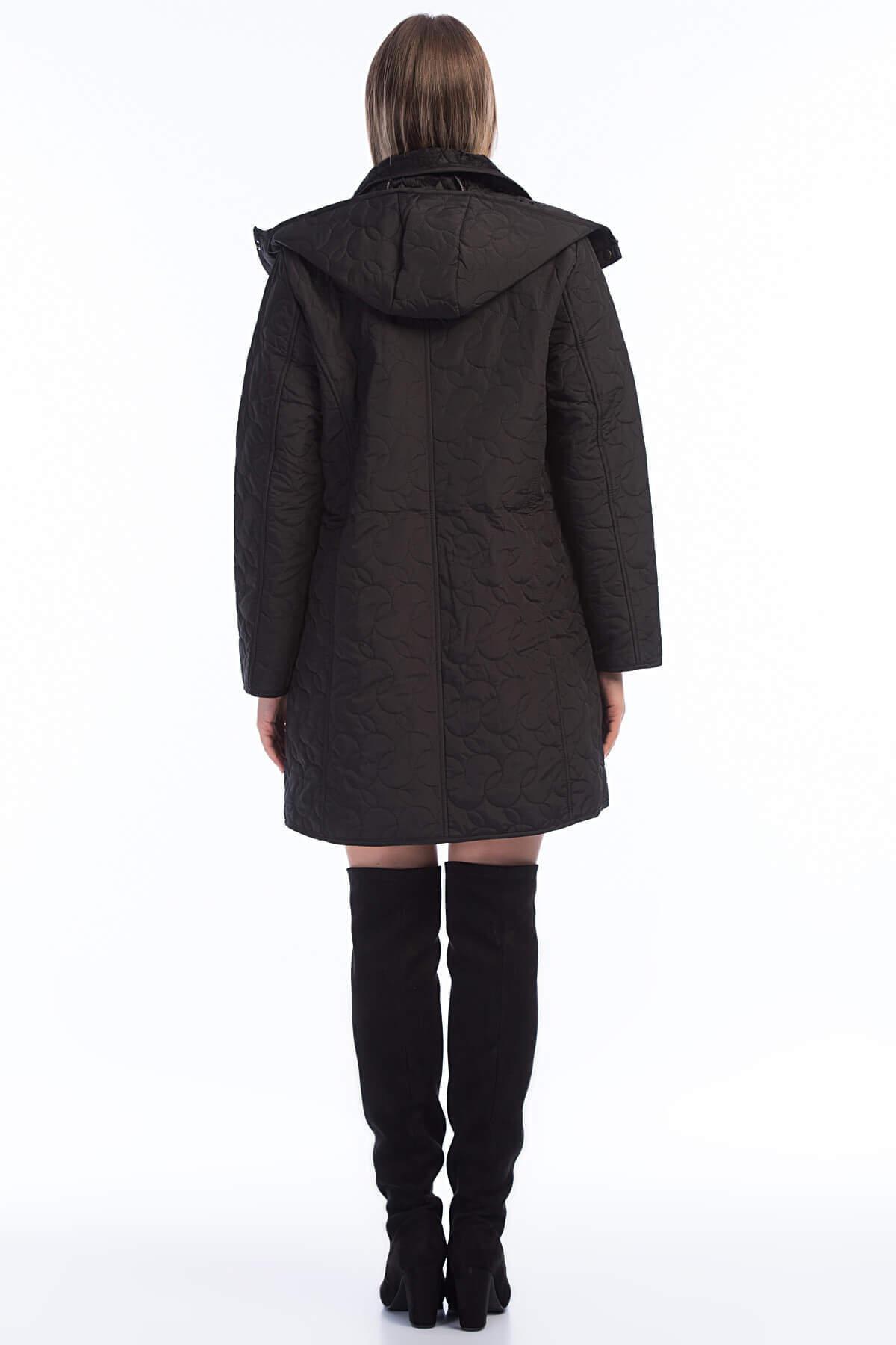 Kadın Büyük Beden İçi Peluş Kürklü Kapşonlu Mont MD1323 Siyah