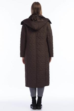 Angelino Fashion - Kadın Büyük Beden İçi Peluş Kürklü Kapşonlu Uzun Mont MD1054 Kahve (1)