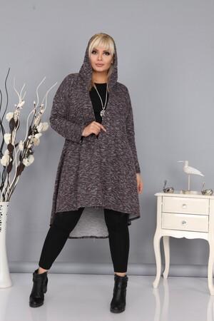 Angelino Fashion - Kadın Büyük Beden Kapşonlu Uzun Yumoş Hırka Kahve (1)