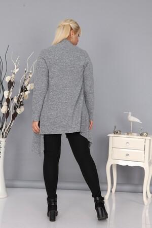 Angelino Fashion - Kadın Büyük Beden Yumoş Hırka Gri (1)