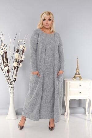 Angelino Fashion - Kadın Büyük Beden Yumoş Uzun Kışlık Kendinden Yelekli Elbise Gri (1)