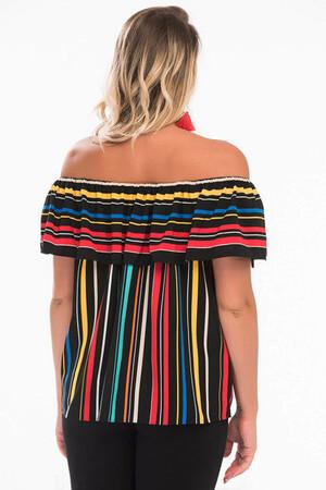 Angelino Style - Kadın Çizgi Desenli Bluz SE8831 (1)