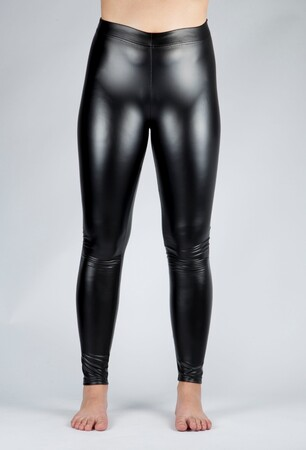 Mangolino Giyim - Kadın Deri Büyük Beden Tayt 23175-24023 Siyah (1)