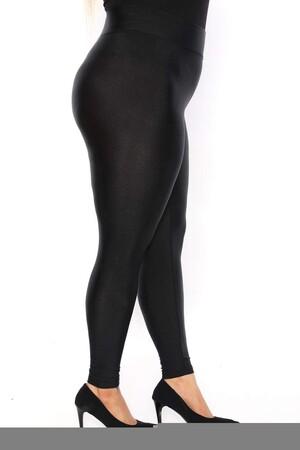 Angelino Fashion - Büyük Beden Parlak Kumaş Disco Tayt 24090 Siyah (1)