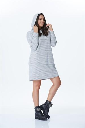 - Kapşonlu Uzun Sweat Shirt Elbise (1)