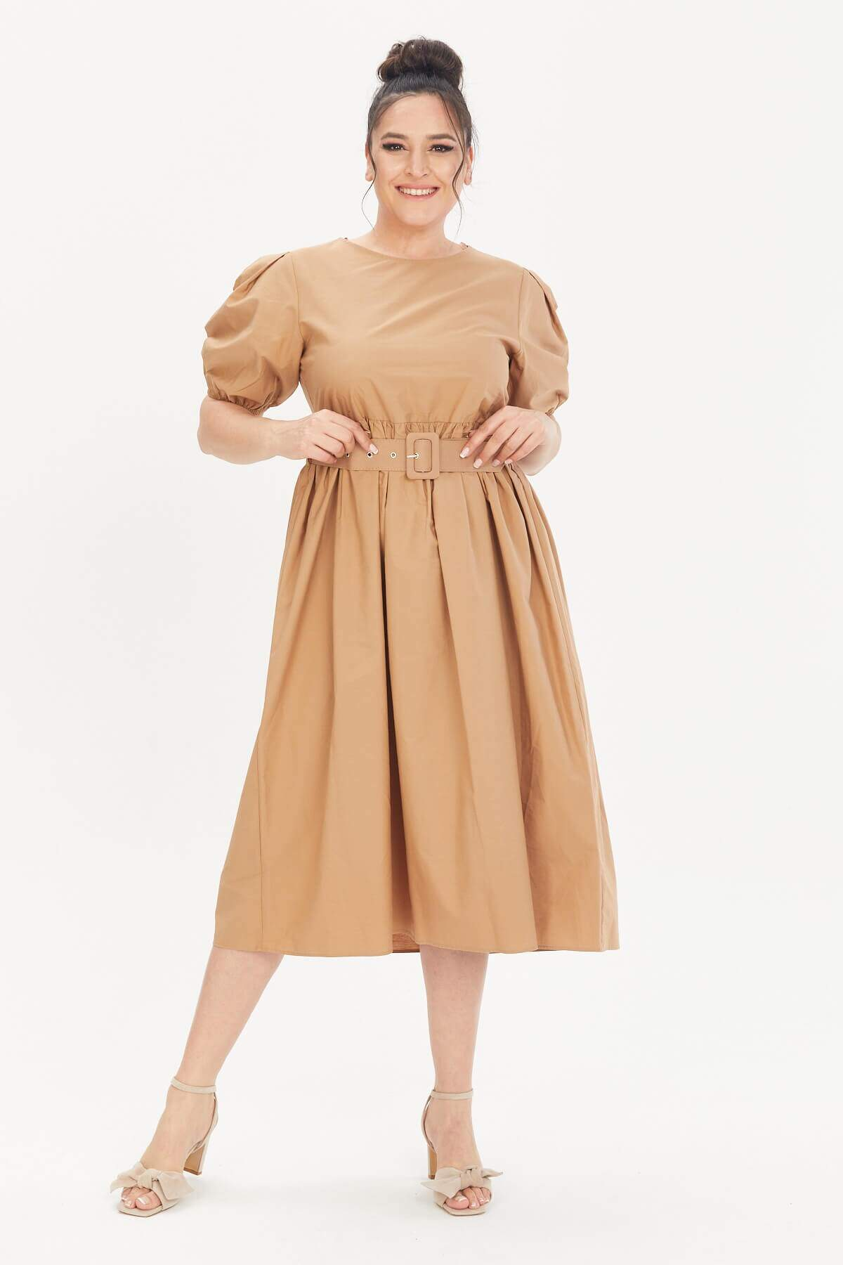 Kemerli Poplin Elbise