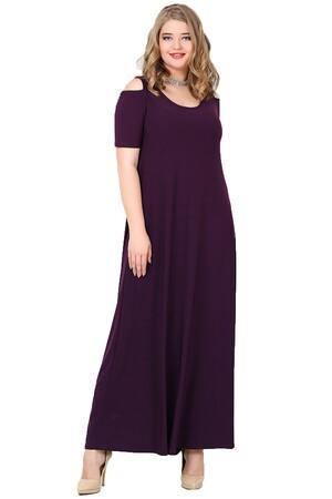 Angelino Butik - Büyük Beden Omzu Yırtmaçlı Uzun Abiye Elbise KL1101U (1)