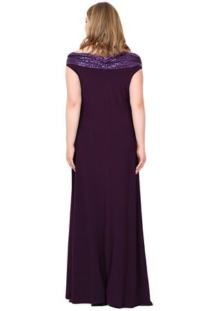 Angelino Butik - Büyük Beden Öpücük Yaka Payetli Likralı Uzun Abiye Elbise KL126P (1)