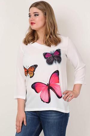 Angelino Butik - KL2400 Kelebek Desenli Krep Beyaz Tunik (1)
