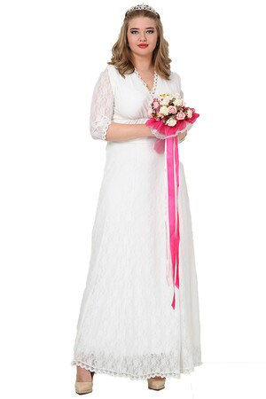 Angelino Butik - Komple Güpür Büyük Beden Uzun Elbise KL26001 (1)