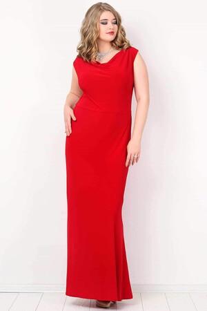 KL4001 Büyük Beden Uzun Abiye Elbise Kırmızı - Thumbnail