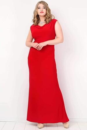 Angelino Butik - KL4001 Büyük Beden Uzun Abiye Elbise Kırmızı (1)