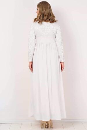 Angelino Butik - KL4009T Büyük Beden Tesettür Şifon Likralı Uzun Abiye Elbise Beyaz (1)