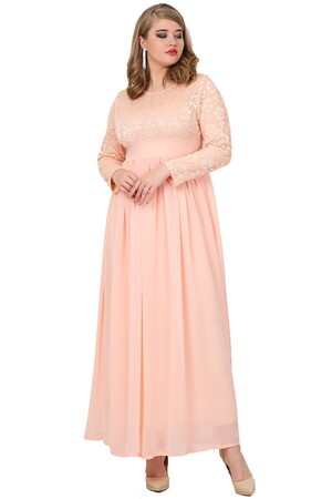 Angelino Butik - Büyük Beden Tesettür Şifon Likralı Uzun Abiye Elbise KL4009T (1)