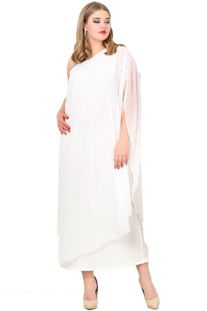 Angelino Butik - Büyük Beden Şifon Tek Taraf Askılı Elbise KL6060U (1)