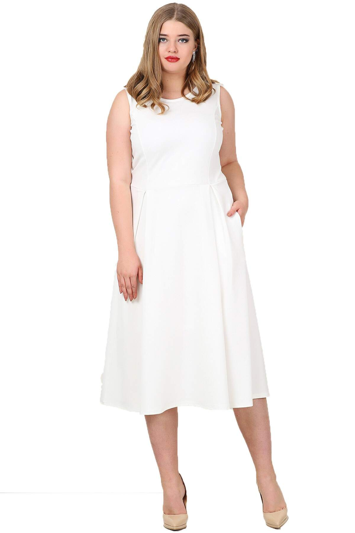 9378df0d3f1dc Plus Size Pockets Dress KL777 White