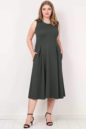 Angelino Butik - Büyük Beden Cepli Elbise KL777 (1)