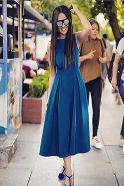 Angelino Style - KL777e PARLEMENT MAVİSİ Cepli Büyük Beden Elbise (1)
