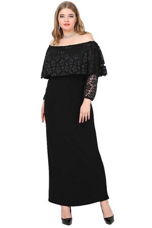Angelino Butik - Büyük Beden Omzu Açık Uzun Abiye Elbise KL779U (1)