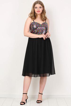 Angelino Style - KL784 Büyük Beden Payetli Mini Abiye Elbise (1)
