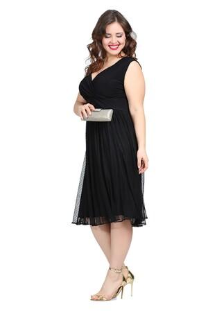 Angelino Butik - Büyük Beden Puantiye Tüllü Mini Abiye Elbise KL7878 Siyah (1)