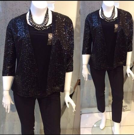 Angelino Style - KL7884 Büyük Beden Kadın Payetli Ceket Siyah (1)