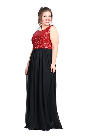 Angelino Butik - Büyük Beden Payetli Şifonlu Uzun Elbise KL7885 (1)