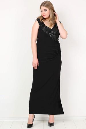Angelino Butik - KL790 Büyük Beden Payetli Uzun Abiye Elbise Siyah (1)
