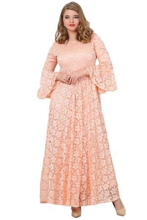 Angelino Butik - Büyük Beden Kolları Volanlı Komple Dantel Tesettür Elbise KL791T (1)