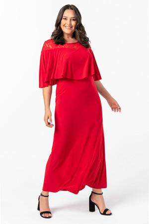 Angelino Butik - KL792 Üstü Dantel Büyük Beden Uzun Abiye Elbise Kırmızı (1)