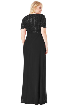 Angelino Style - KL793p Üstü Dantelli Şifon Büyük Beden Abiye Elbise Siyah (1)