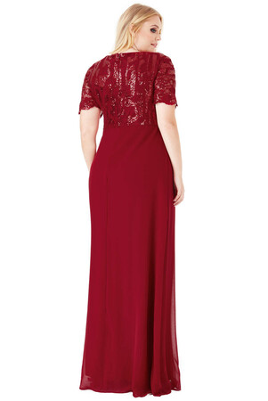 Angelino Style - KL793p Üstü Dantelli Şifon Büyük Beden Abiye Elbise Bordo (1)
