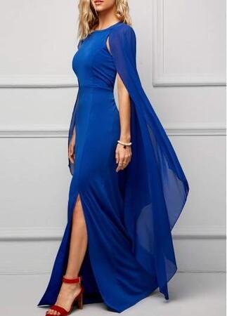 Angelino Style - KL796 Angelino Uzun Şifon Abiye Elbise Sax (1)