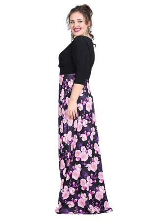 Angelino Butik - Büyük Beden Abiye Uzun Elbise KL8003U Mor Çiçekli (1)