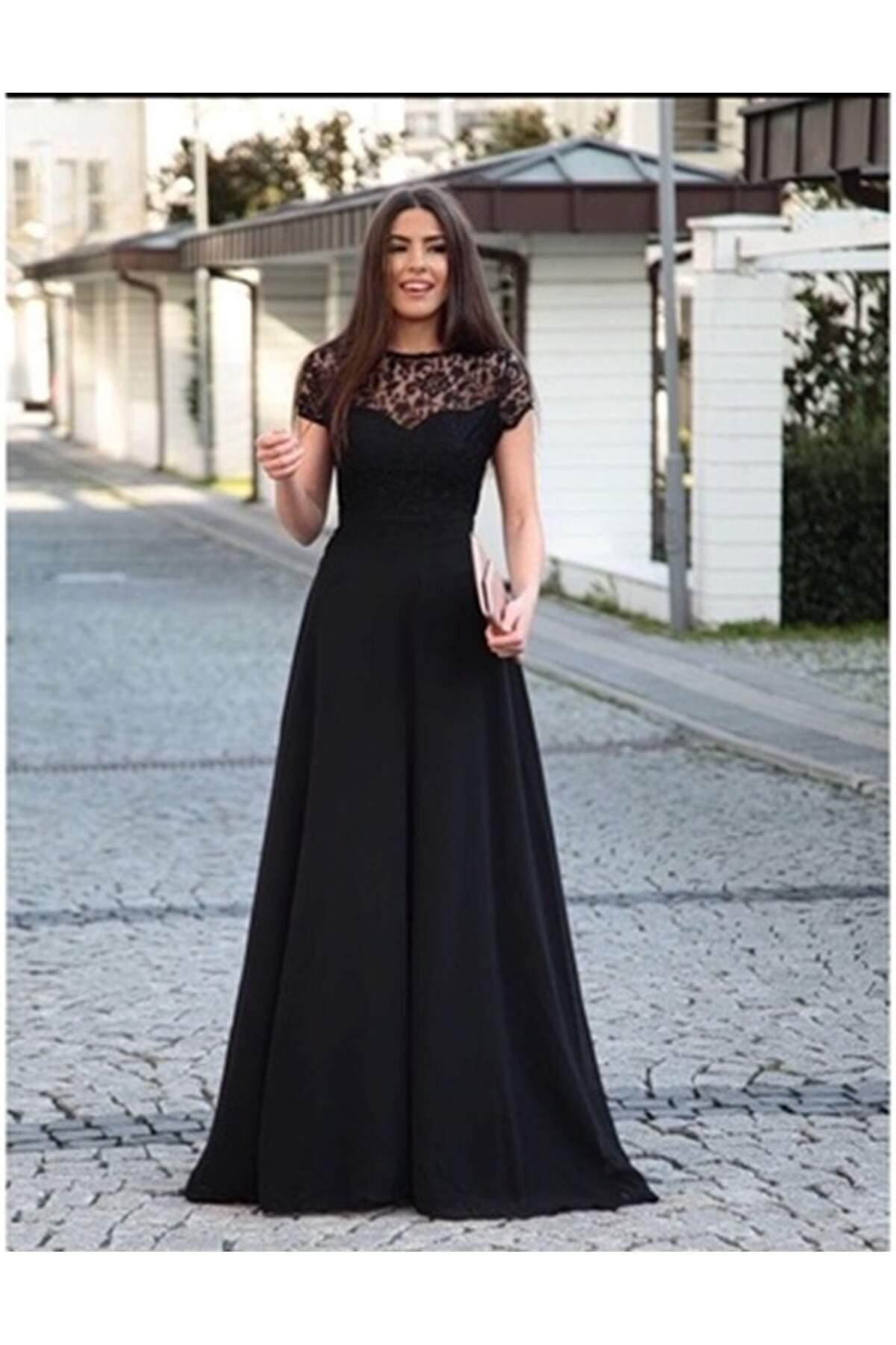 KL802 Üstü Güpür Maxi Boy Elbise - Siyah